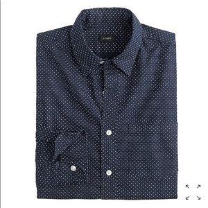 Men's JCrew Slim Button Up. Navy Microdot. Large
